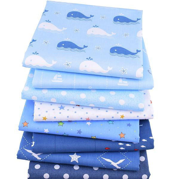 "8pcsTwill Cotton Fabric (16"" x 20"") Ocean Series"