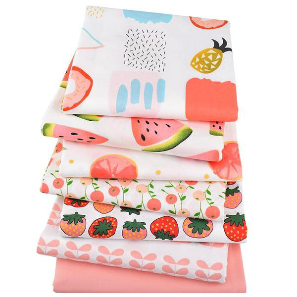 "7 pcs Twill Cotton Fabric (16"" x 20"") Cartoon Fruit Collection"