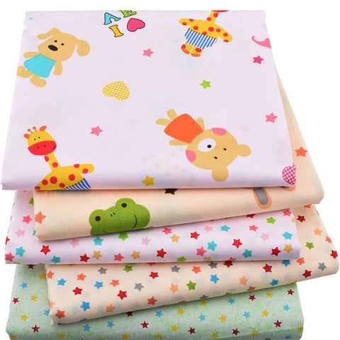 "5pcs Twill Cotton Fabric (16"" x 20"") Bear and Frog Series"