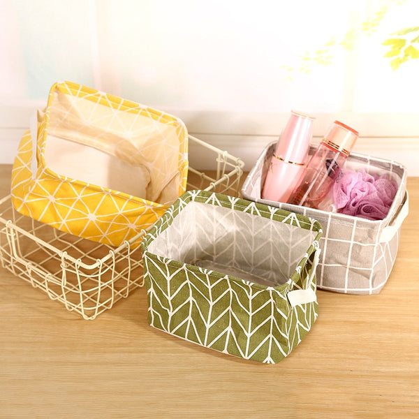 Cotton Fabric Basket for Sewing Cloth
