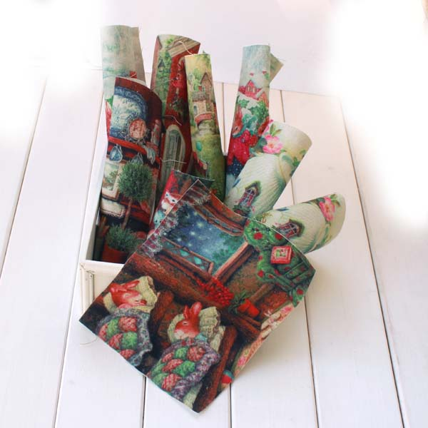 "8pcs  Cotton Linen Quilting Fabric (8"" x 6"") Cute Peter Rabbit Painting"