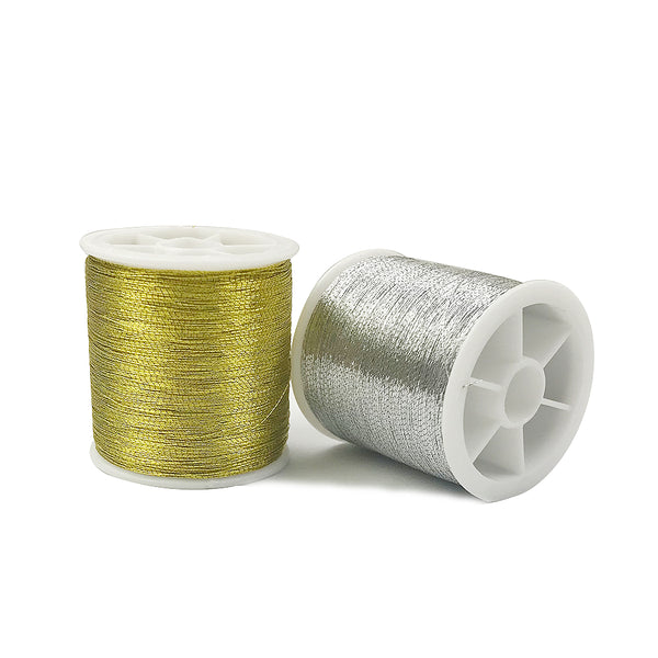 Gold / Silver 109 Meters Polyester Cross Stitch Strong Yarn