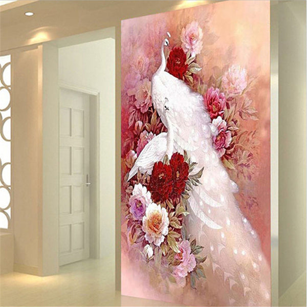 5D Diamond Painting Animal White Peacock