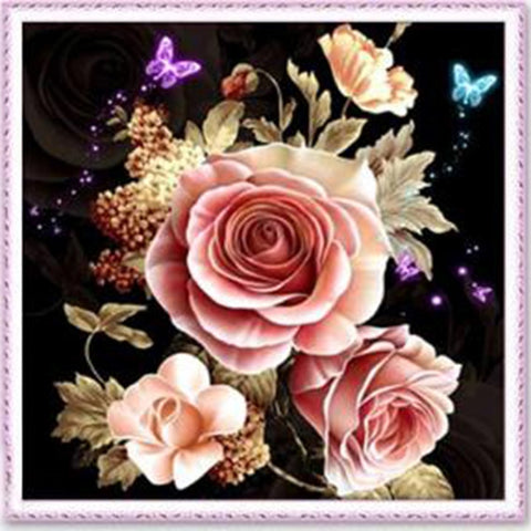 5D Diamond Painting Rose Flower Butterfly