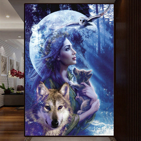 5D Diamond Painting Wolf Girl