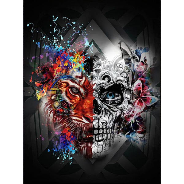 5D Diamond Painting Tiger & Skull