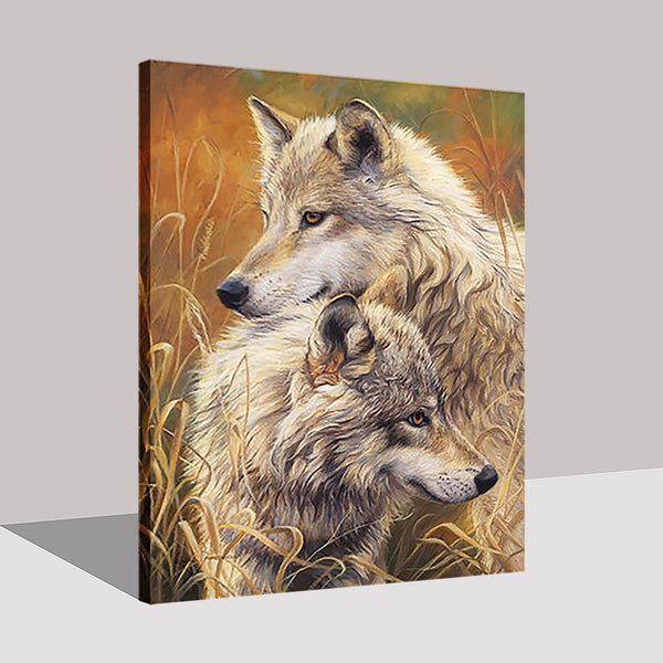 Painting By Numbers Wolves Couple