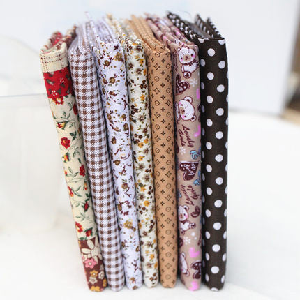 7 Piece Lot Patchwork Fabric (10″X10″) Coffee Collection