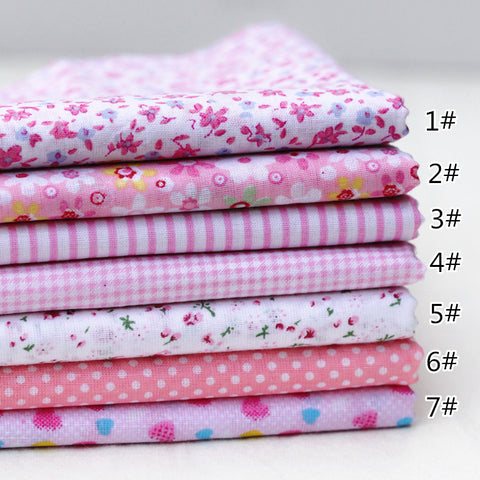 "7 Piece Lot Patchwork Fabric (10""X10"") Pink Collection"