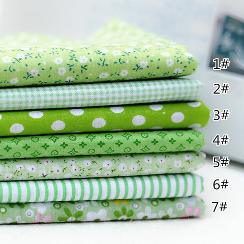 7 Piece Lot Patchwork Fabric (10″X10″) Green Collection
