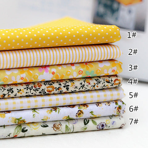 7 Piece Lot Patchwork Fabric (10″X10″) Yellow Collection