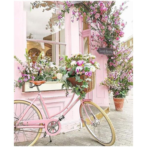 Bicycle Flower 5D Square Diamond Painting