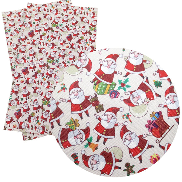 "Synthetic Leather Fabric (8"" x 13"")  Flowers Santa Claus Snowman"