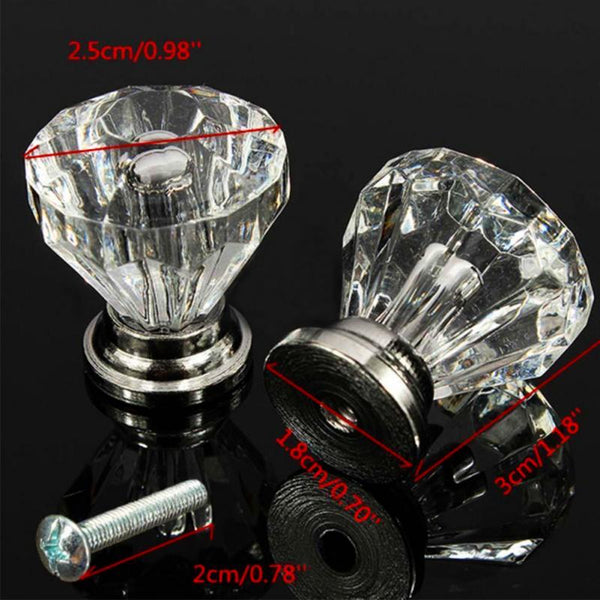 12pcs/lot Diamond Shape Design Crystal Glass Knobs