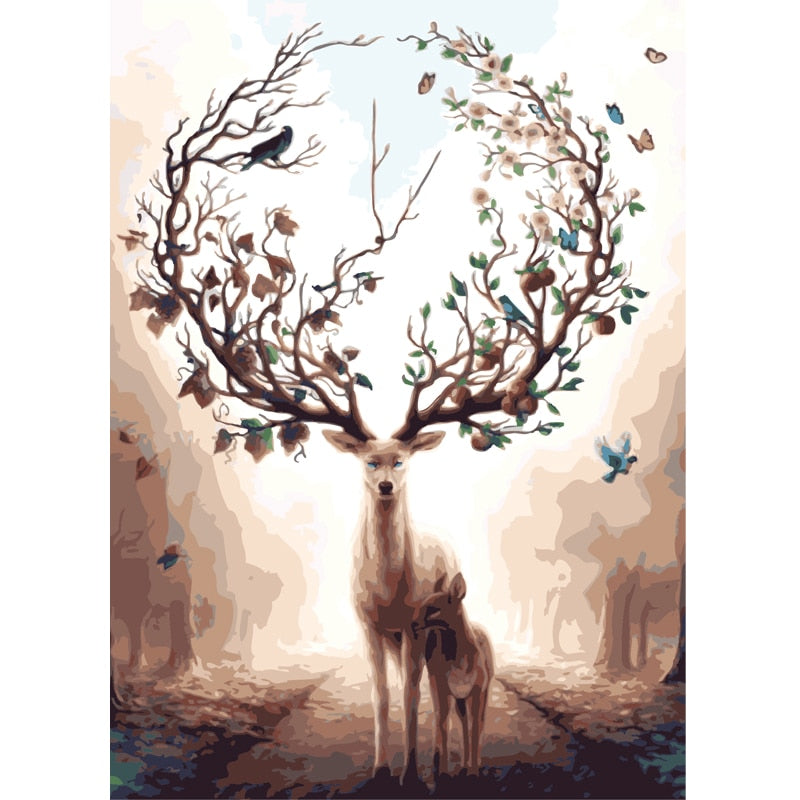 Diy Oil Painting By Numbers Elk Deer Animal