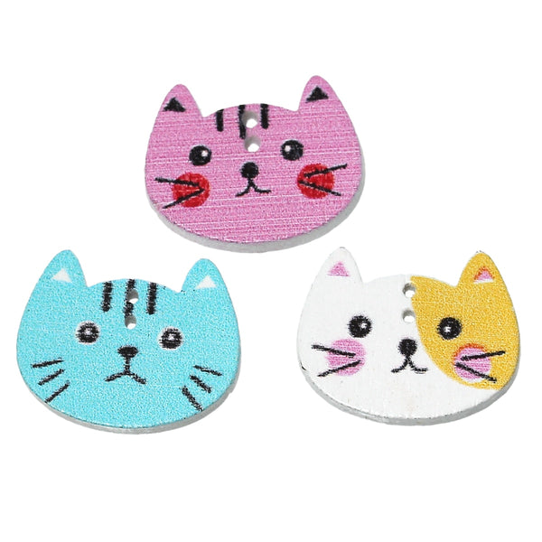 "10 Pcs Wood Sewing Button (6/8"" x 5/8"") Cat Collection"