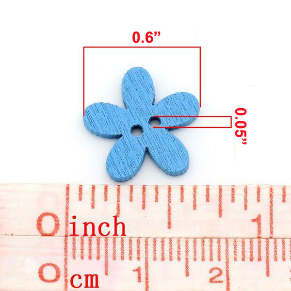 "20 Pcs Wood Sewing Buttons Flower (0.6"" x 0.6"")"