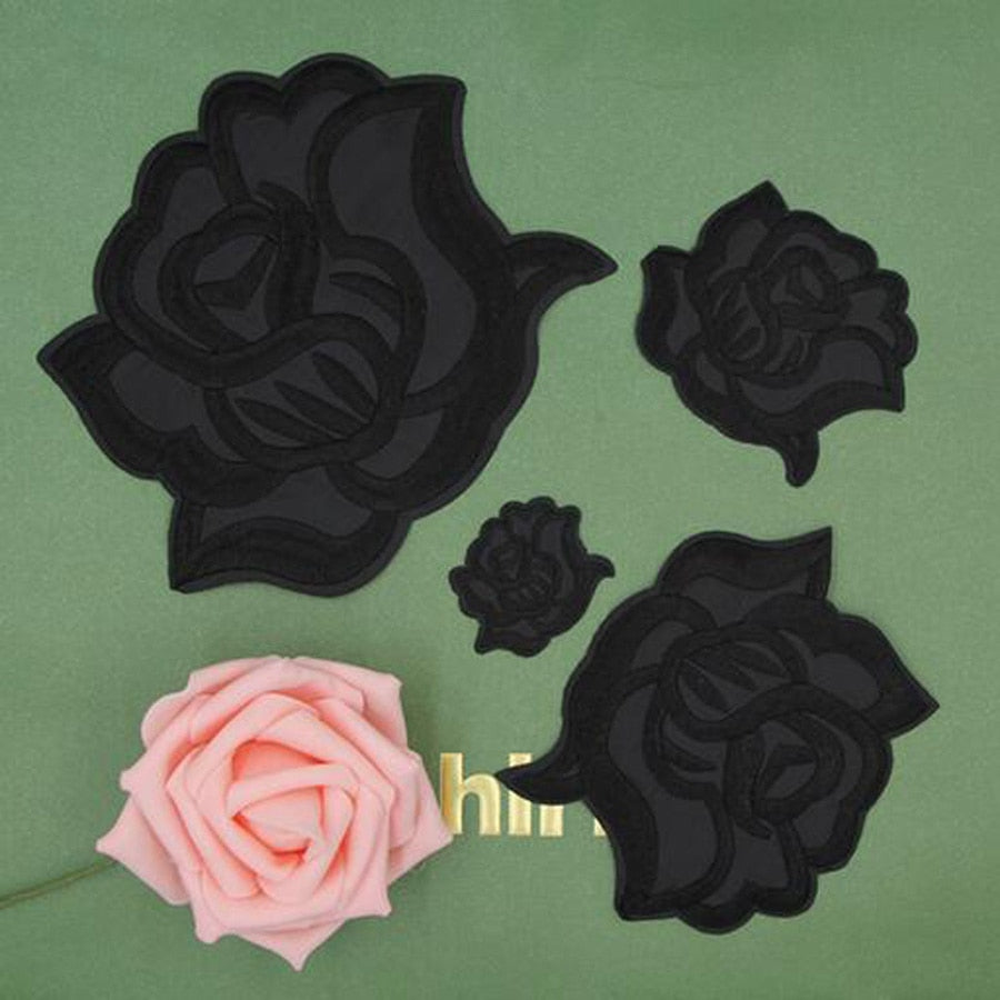 Fabric Embroidered Black Rose Flower Patch