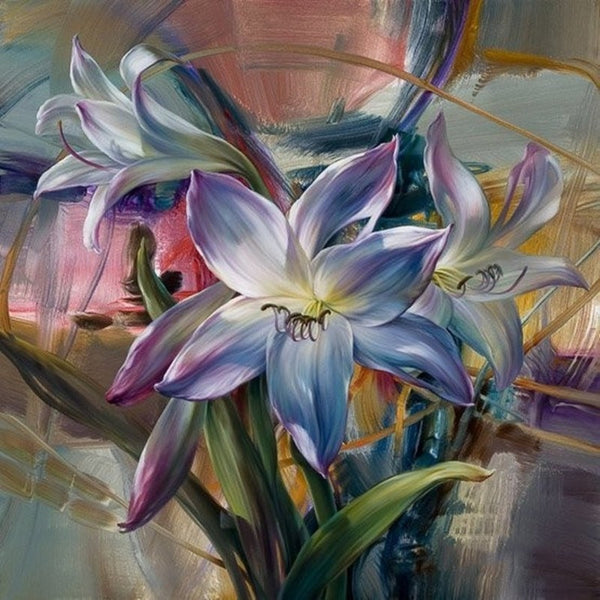 Frameless Purple Flower Painting By Numbers