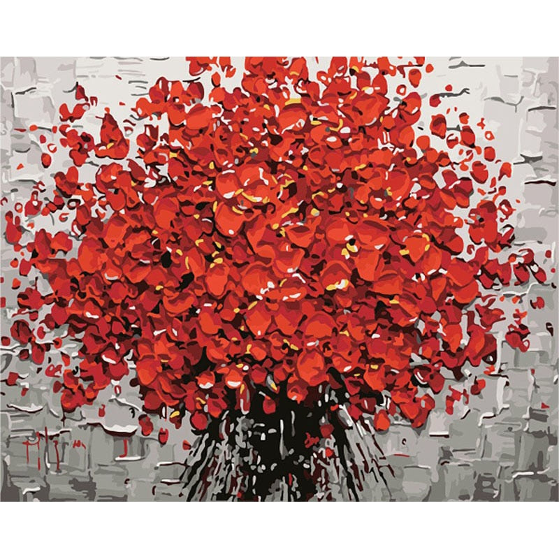 Frameless Red Flower Painting By Numbers