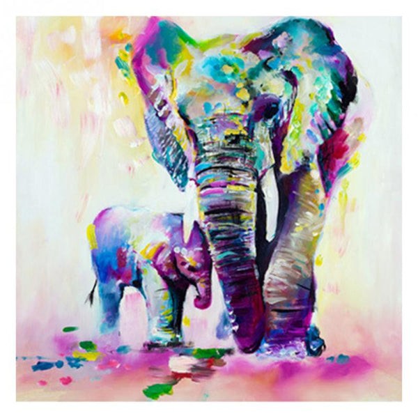 Frameless Painting By Numbers Vintage Elephant