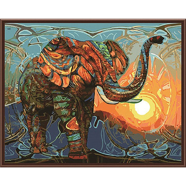 Frameless Vintage Painting Elephant