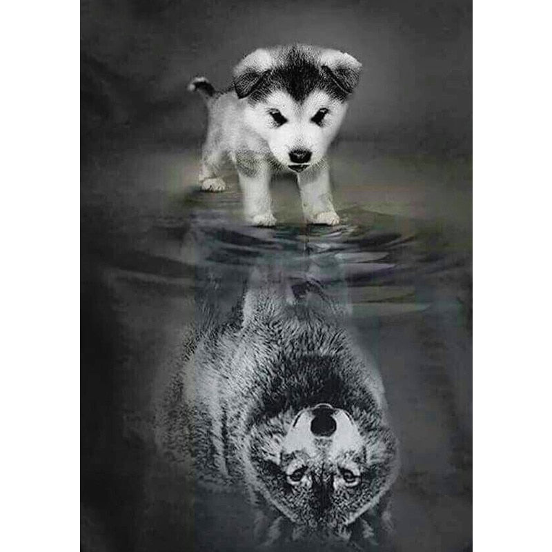"Full Square Drill 5D Diamond Painting ""Dog to Wolf"""