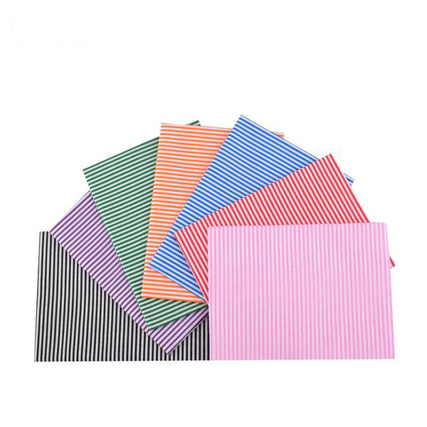 "7 pcs Plain Printed Cotton Fabric (20"" x 20"") Stripes Collection"