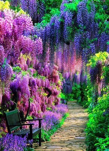 5d Diamond Painting Garden View Purple