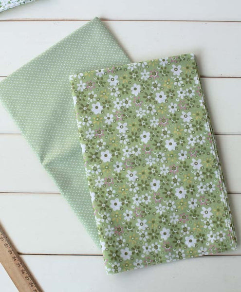 7pcs. Green Cotton Floral Fabric
