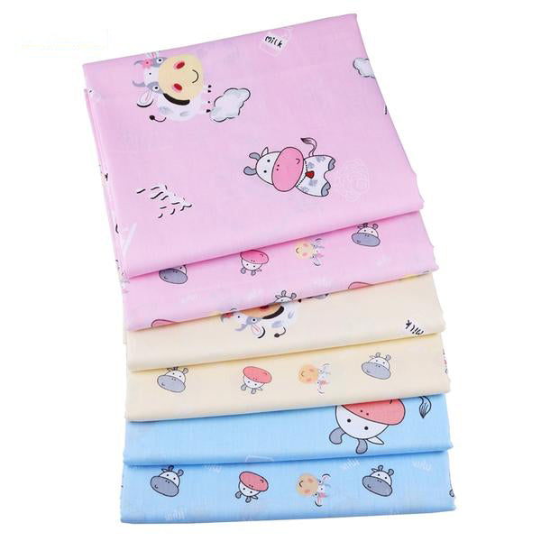 "6 pcs Twill Cotton Fabric (16"" x 20"") Cow Collection"