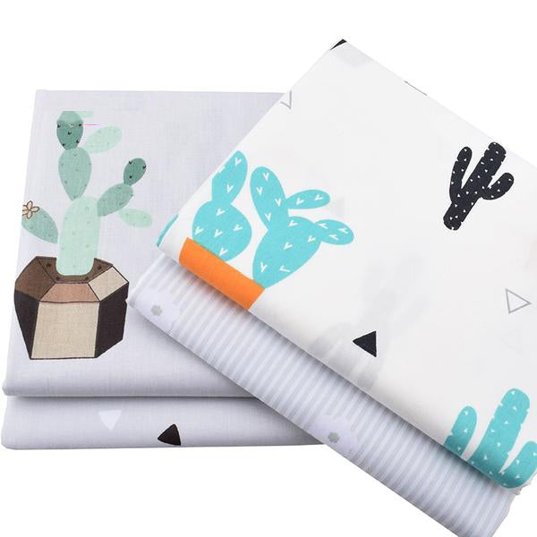 "8 pcsTwill Cotton Fabric (16"" x 20"") Cactus Collection"