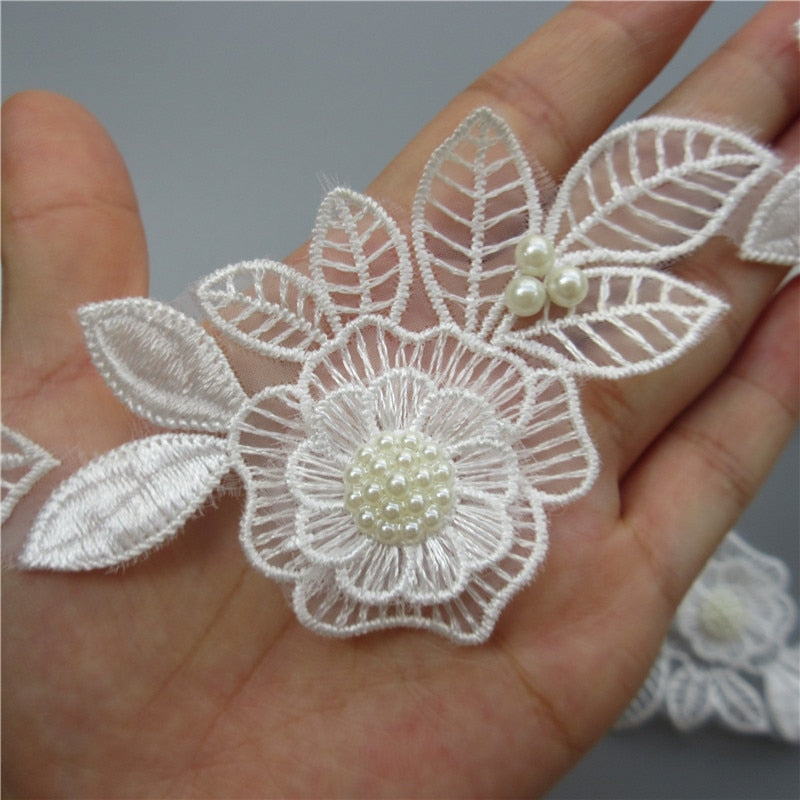 Hot 10x White Pearl Beaded Flower Leaf Embroidered