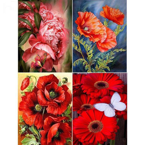 5D Diamond Painting Red Flowers