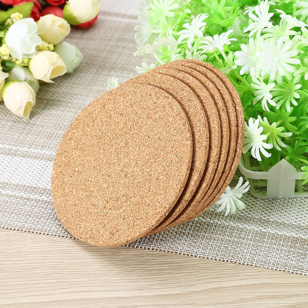 6pcs/lot Natural Cork Coaster Heat Resistant Placemat
