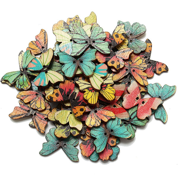 Wooden Butterfly Button