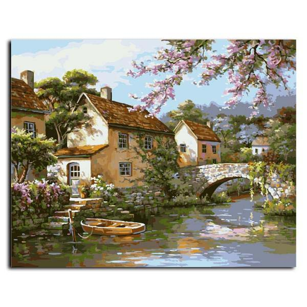 "Frameless Painting By Numbers ""House Beside the River"""