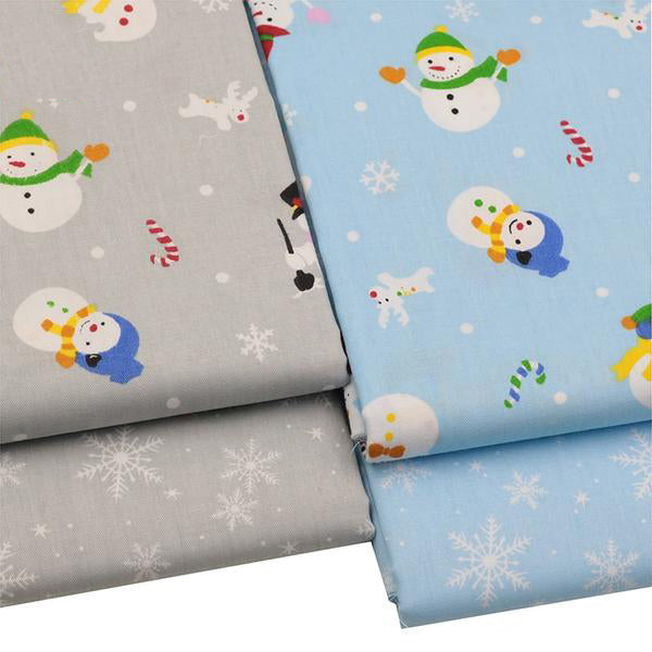 "4pcs Cotton Fabric (16"" x 20"") Snowman Collection"