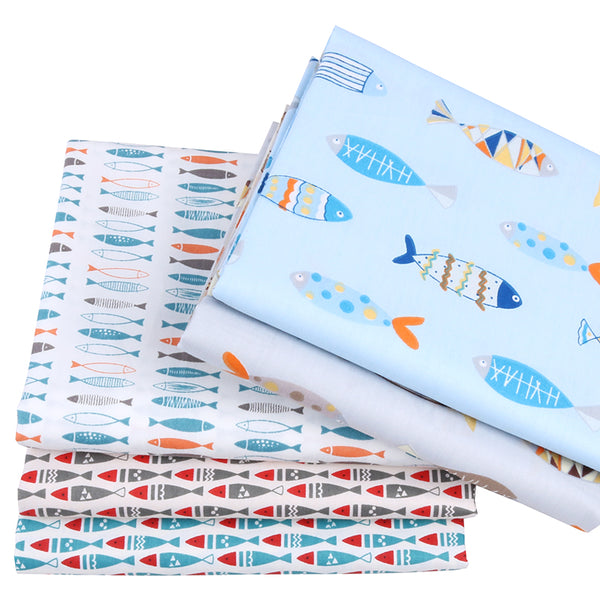 "5Pcs Cotton Fabric (8"" x 10"") Fish Collection"