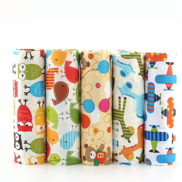 "5 Piece Lot Patchwork Fabric (16"" x 20"") Cartoon Safari Collection"