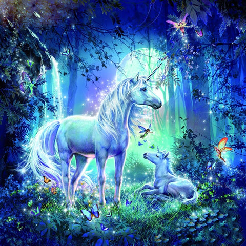 5D Diamond Painting Unicorns In Forest