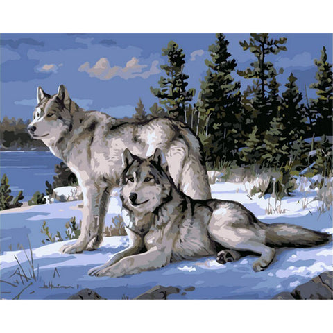 Wolf Pack On Winter Mountain