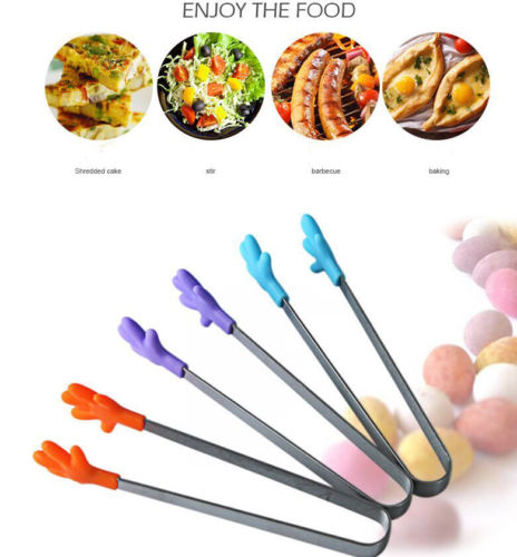 Solid Stainless Steel Food Clip Non-slip Mini Silicone Small Hand