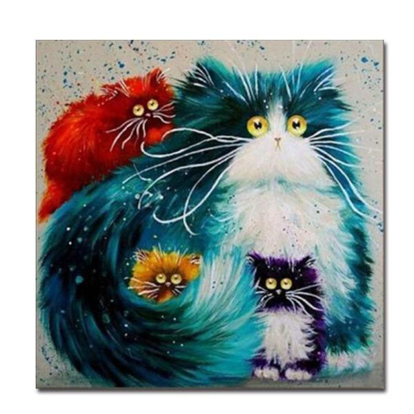 "Frame Modern Pictures Painting By Numbers ""Cat"""