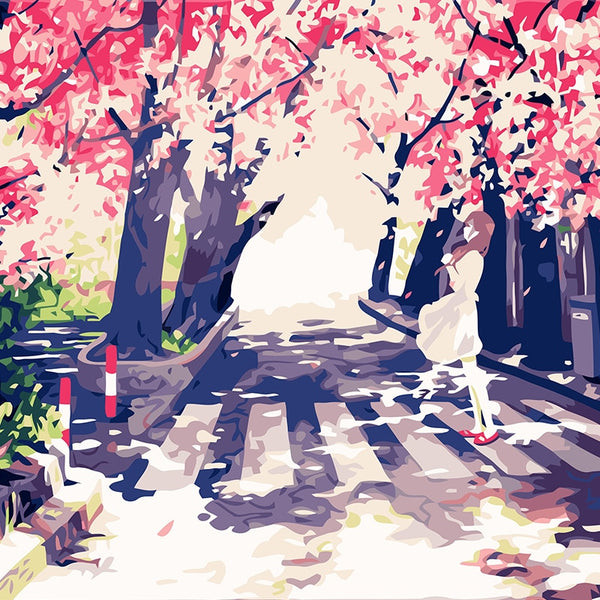 Paint By Number Girl Under Japanese Style Cherry Blossom