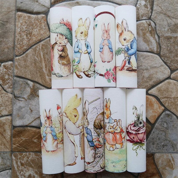 "9 Pcs Dyed Cotton Linen Fabric (6"" x 6"") Rabbit Collection"