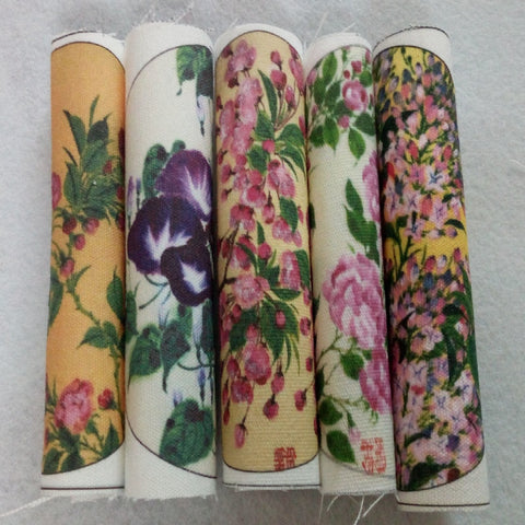 5pcs Cotton Linen Fabric Blooming Flowers Designs