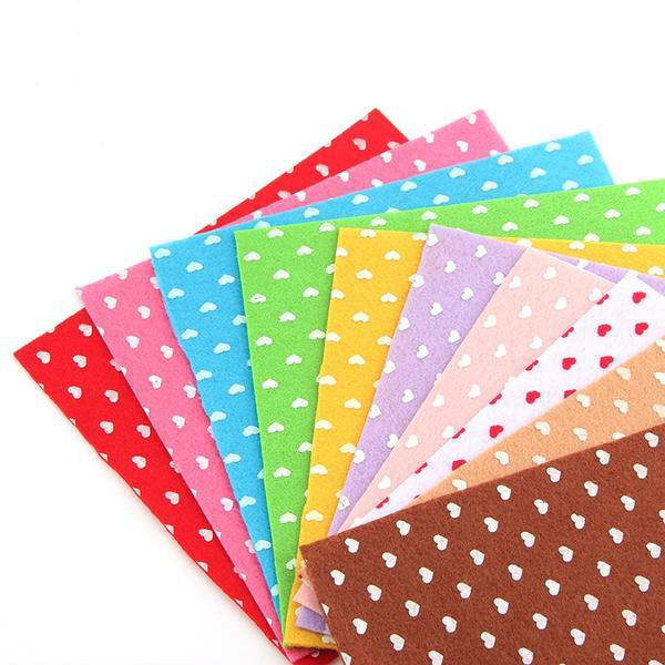 "10 pcs Felt Fabric Cloth (6"" x 6"") Heart Collection"