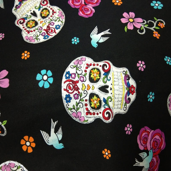 "Cotton Fabric (20"" x 43"") Halloween Flower Skull Design"