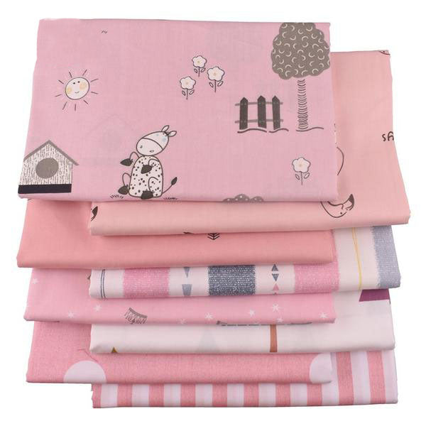 "8pcs Printed Twill Cotton Fabric (16"" X 20"") Cartoon Pink Series"